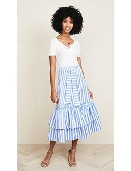 Tie Midi Ruffle Skirt by Caroline Constas