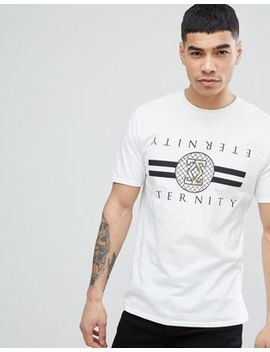 River Island T Shirt With Gold Eternity Print In White by River Island