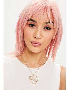 Barbie X Missguided Gold Heart Long Pendant Necklace by Missguided