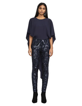 Dena Bodice Cape Metallic Jumpsuit by Bcbgmaxazria