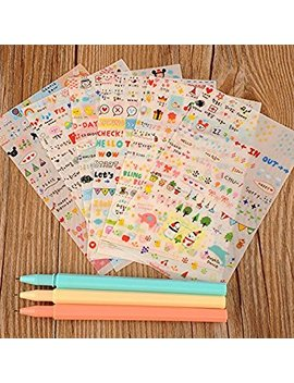 Uho M Ey 6 Sheets Pvc Cute Words Letters Cartoon Albums Diary Stickers For Journal Notebook Decoration Scrapbooking by U Ho M Ey