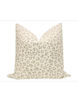 Leopard Linen Print // Grey Pillow Cover Only by Etsy