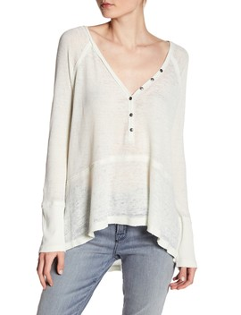 Waffle Knit V Neck Topstitched Henley (Petite) by Melrose And Market