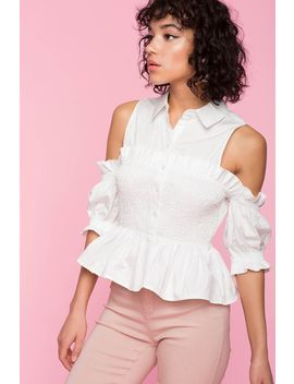 Cold Shoulder Smocked Poplin Shirting by A'gaci