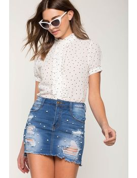 Under The Pearl Mini Denim Skirt by A'gaci
