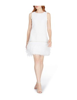 Feather Hem Shift Dress by Tahari Asl
