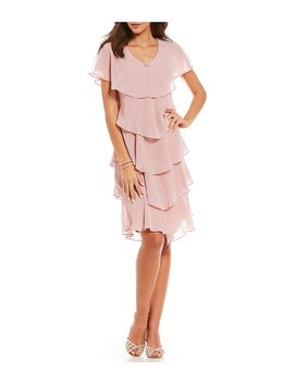 S.L. Fashions Georgette Tiered Capelet Dress by S.L. Fashions