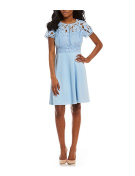 Ivanka Trump Lace Bodice Fit And Flare Dress by Ivanka Trump