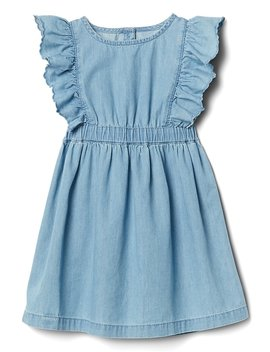 cascading-ruffle-denim-dress by gap