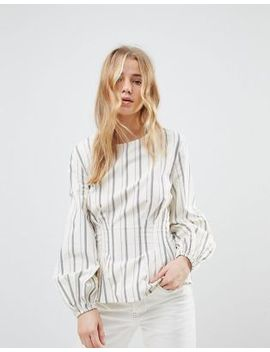 New Look Stripe Cotton Puff Sleeve Top by New Look