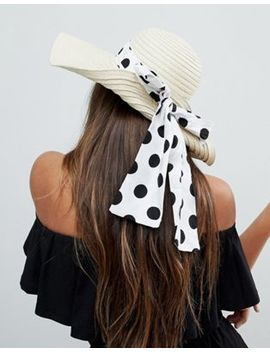 Asos Straw Floppy Hat With Polka Dot Bow Detail And Size Adjuster by Asos Collection