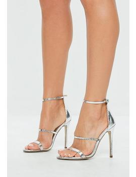 Silver Metallic Three Strap Barely There Heels by Missguided