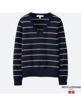 Women Ines Striped V Neck Sweater by Uniqlo