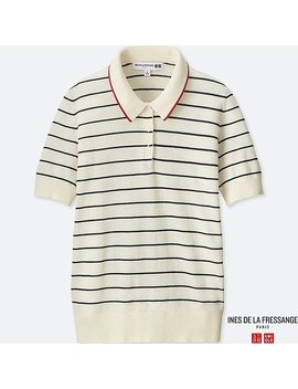Women Ines 100 Percents Cotton Short Sleeve Polo Sweater by Uniqlo