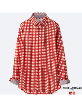 Women Ines 100 Percents Cotton Long Sleeve Shirt by Uniqlo