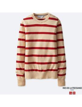 Women Ines 100 Percents Supima Cotton Striped Sweater by Uniqlo
