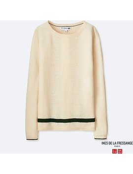 Women Ines Premium Linen Lined Sweater by Uniqlo