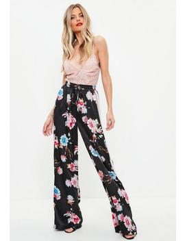 Black Floral Wide Leg Side Stripe Pants by Missguided