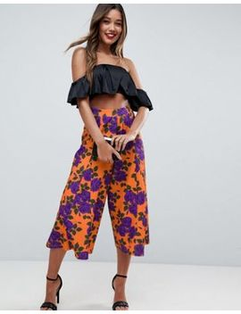 Asos Cropped Wide Leg Pants With Flowing Hem In Orange Floral Print by Asos Collection