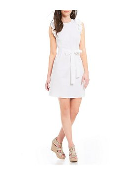 Michael Michael Kors Ruffle Trim Poplin Belted Shift Dress by Michael Michael Kors