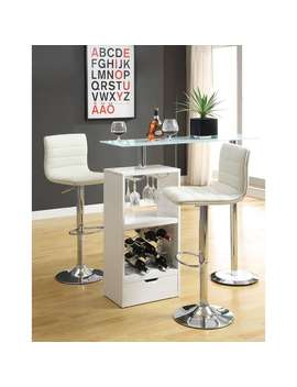 Coaster Company Metal/ Glass White Storage Shelf Bar Table by Coaster