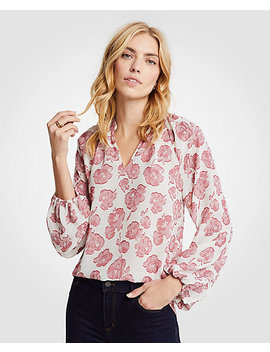 Petite Winter Floral Full Sleeve Blouse by Ann Taylor