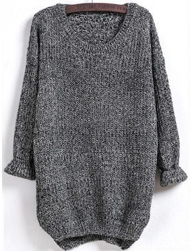 Dipped Hem Marled Loose Sweater by Sheinside