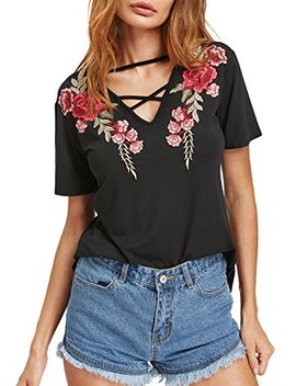 Make Me Chic Women's Sexy Cross Front V Neck Floral Embroidery Casual Tee T Shirt by Make Me Chic