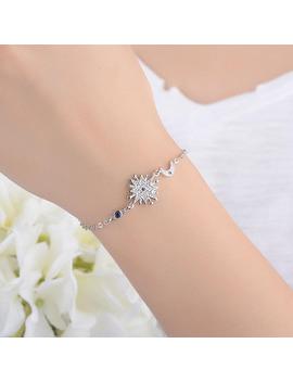 Trendy Simple 925 Silver White/Blue Zirconia Star Moon Shape Chain Bracelet For Girls Women Female Charm Bracelet Jewelry Bl035 by Shitou Store