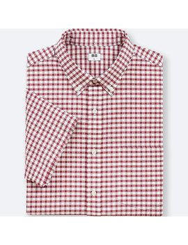 Men Dry Seersucker Checked Short Sleeve Shirt by Uniqlo