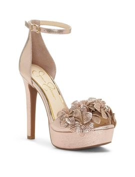 Jessica Simpson Mayfaran 3 D Laser Flowers Ankle Strap Platform Dress Sandals by Jessica Simpson