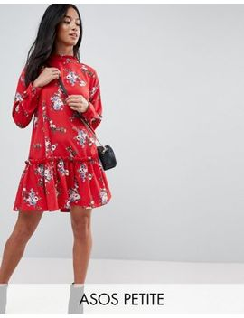 Asos Design Petite Smock Dress With Pep Hem In Floral Print by Asos Petite