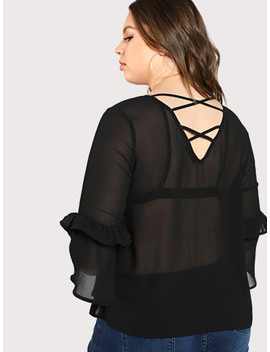 Frilled Sleeve Semi Sheer Top by Shein