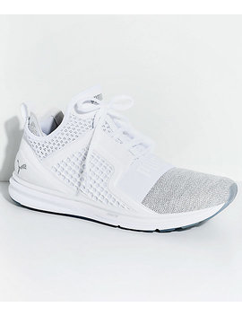 Puma Ignite Limitless Knit White & Silver Shoes by Puma