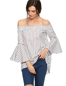 She In Women's Off The Shoulder Bell Sleeve Striped Blouse by She In
