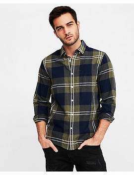 Slim Plaid Button Down Cotton Shirt by Express