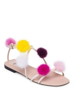 Mink Fur Pom Pom Sandals by Fendi