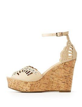 Bamboo Perforated Wedge Sandals by Charlotte Russe