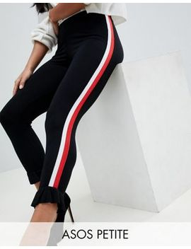 Asos Design Petite Leggings With Side Stripe Tape And Ruffle Hem by Asos Design