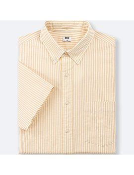 Men Dry Seersucker Striped Short Sleeve Shirt by Uniqlo