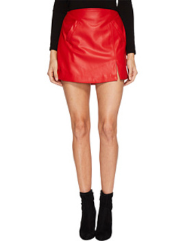 Vegan Leather Mini Skirt In Old Flame by Blank Nyc