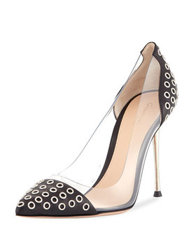 Grommet 105mm Plexi/Leather Pump by Gianvito Rossi