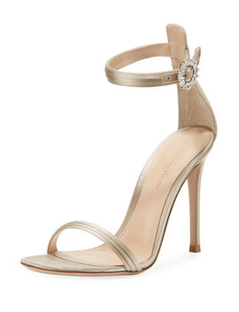 Pleated Satin Embellished 105mm Sandal by Gianvito Rossi