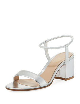 Metallic Leather Stretch Ankle Wrap Sandal by Gianvito Rossi
