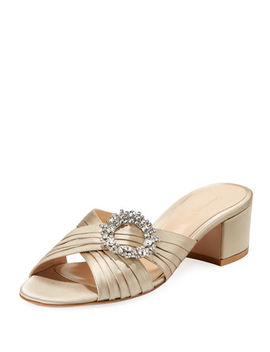 Satin Embellished Slide Sandal by Gianvito Rossi