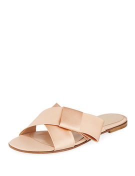 Flat Satin Ribbon Slide Sandal by Gianvito Rossi