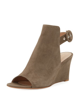 Open Toe Slingback Wedge Bootie by Gianvito Rossi