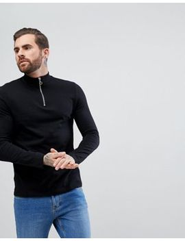 Asos Zip Neck Fit T Shirt With Long Sleeves In Black by Asos