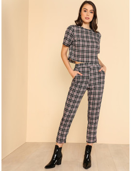 Plaid Crop Top & Elastic Waist Pants Set by Shein
