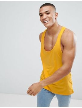 Asos Design Relaxed Tank With Extreme Racer Back In Yellow by Asos